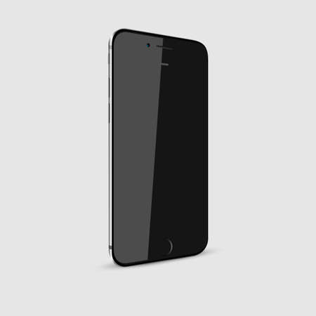 iphon: Black modern smartphone with blank screen isolated. High detailed vector illustration. Vector mockup