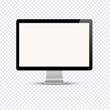 view: Blank computer display isolated on transparent background. Vector mockup. Vector illustration