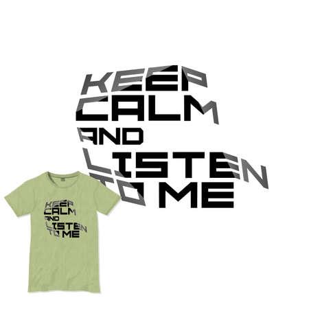 textured backgrounds: Keep calm motivational quote t-shirt design. Vector template