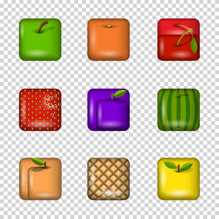 website buttons: Set of app icons-fruits on transparent background. Vector elements Illustration