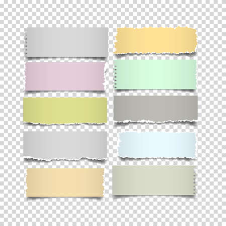 memos: Set of notes paper in pastel colors on transparent background. Vector elements for design