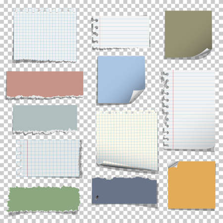 Set of various notes paper on transparent background. Vector elements Illustration