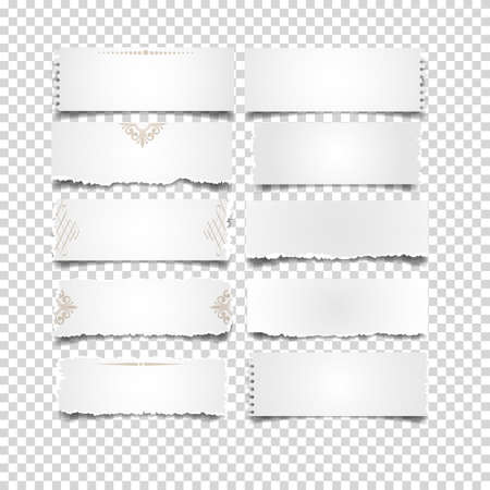old notebook: Set of white notes paper on transparent background. Vector elements for design