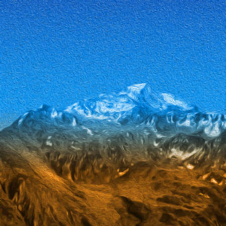 Snow high mountains landscape painting effect.