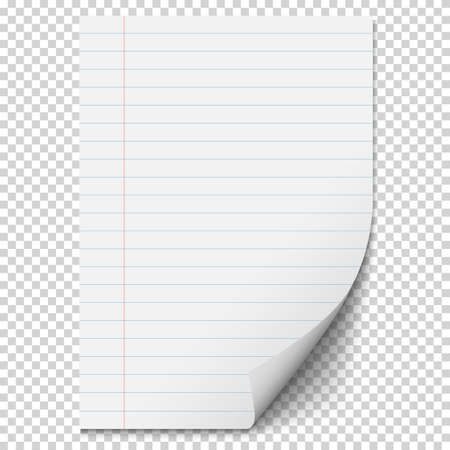 White Blank paper sheet with lines. Realistic blank folded page on transparent background. Vector illustration 向量圖像
