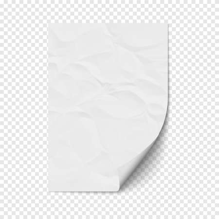 space rubbish: White page curl on empty sheet crumpled  paper. Realistic blank folded page on transparent background. Vector illustration