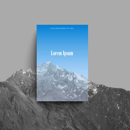 Mountain landscape with blue transparent space for creative design. Template of poster, flyer, banner, brochure or card.