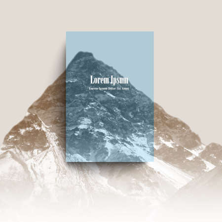 digital: Mountain landscape with transparent blue space for creative design. Template of poster, flyer, banner, brochure or card. Nature vector illustration