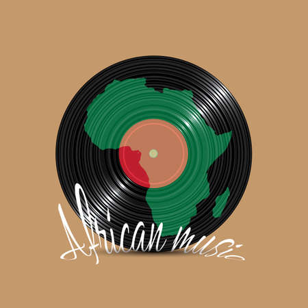 performance art: Black Vinyl disk with silhouette Africa. Concept music etnish background. Vector illustration
