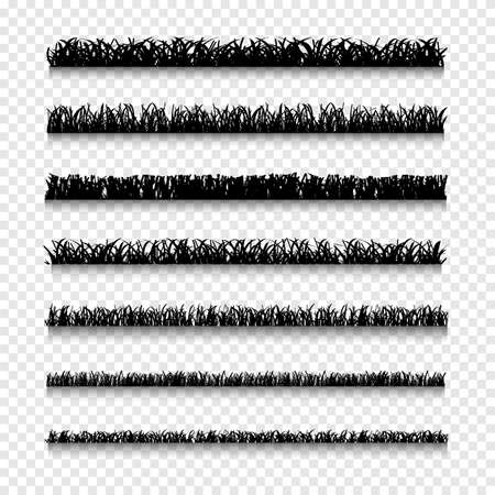 grass blades: Different silhouettes types of grass borders. Set of grass on a transparent background. Vector set of nature elements