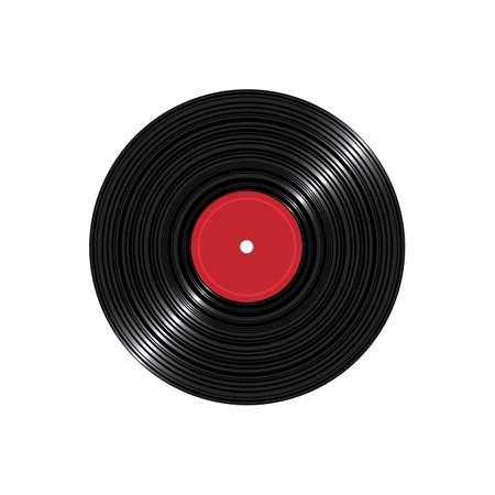 Disco de disco de vinilo aislado sobre fondo blanco. Portador de sonido retro. Ilustración de vector realista