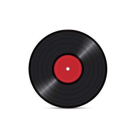 Disco de disco de vinilo negro aislado sobre fondo blanco. Portador de sonido retro. Ilustración vectorial realista