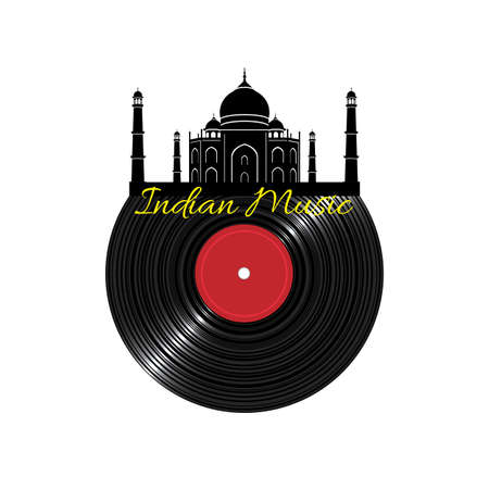 Black Vinyl disk record with Taj Mahal. Concept music ethnic pattern. Vector illustration
