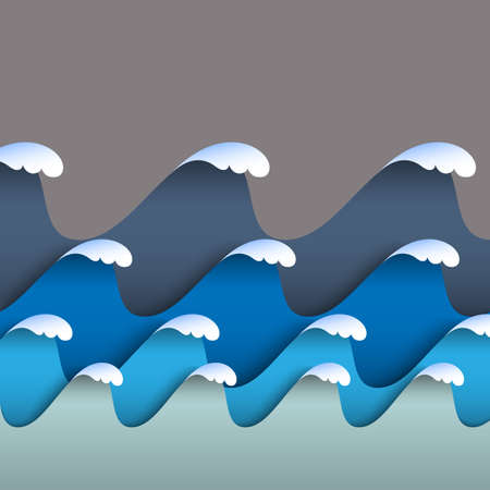 cover: Blue origami paper waves with sea foam. Paper seascape. Vector sea background Illustration