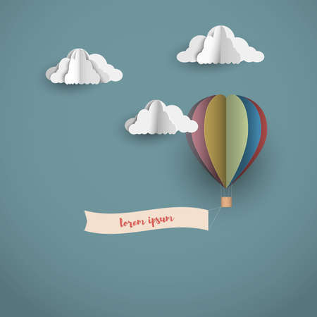 Origami clouds and Hot air balloon with banner. Vector paper art retro style Illustration