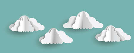 Origami clouds in paper art style on blue sky. Vector set of paper clouds Illustration