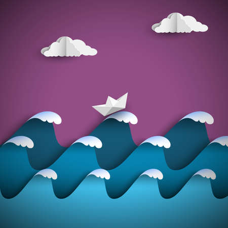 Origami paper waves with clouds and ship. Paper art style seascape. Vector nautical background Illustration