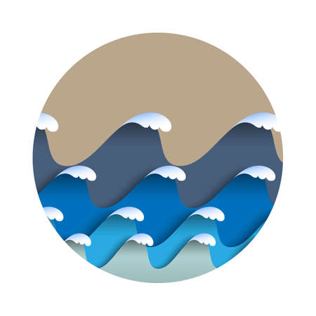 shadow: Origami paper waves with sea foam in japanese style. Paper art seascape. Vector sea background