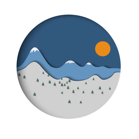 idea: Paper mountain landscape with spruce and sun. Minimal style design.Vector paper art and craft style