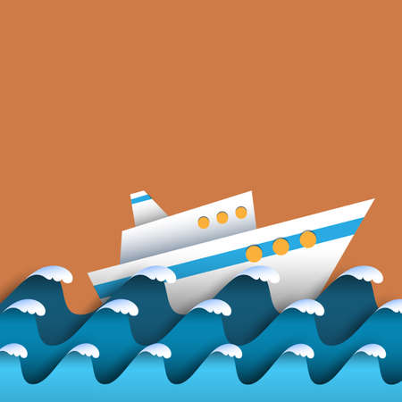 yacht: Paper waves and cruise liner. Seascape - waves with sea foam. Vector paper art style Illustration