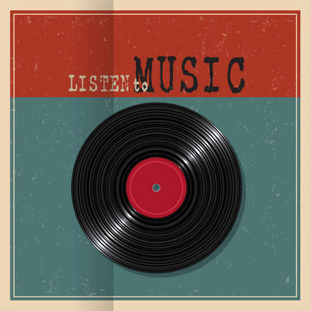 electronic music: Retro  paper poster with Vinyl disk record. Concept music grunge background. Vector illustration
