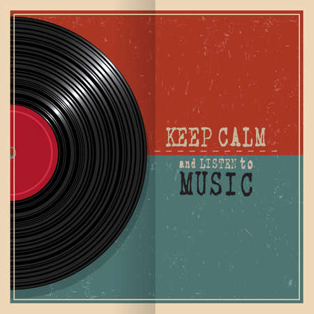electronic background: Retro grunge poster with Vinyl disk record and quote Keep calm. Concept music grunge background. Vector illustration