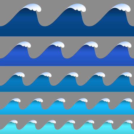 waves: Set of horizontal seamless paper wavy borders. Paper art style. Vector 3D elements.