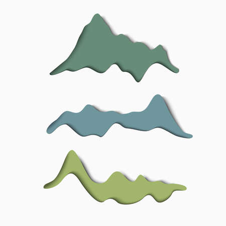 paper art: Set of stylized paper mountains. Minimal stylish design. Vector paper art elements