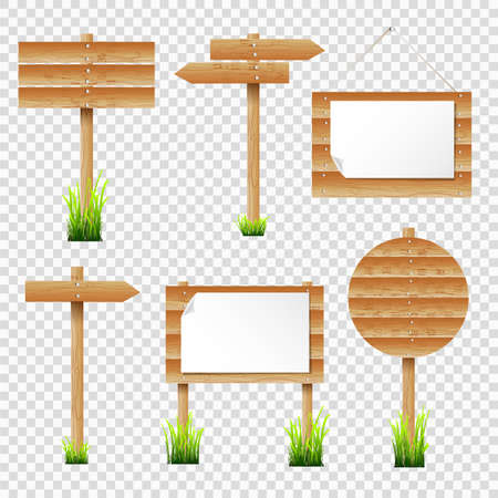 sign post: Set of wooden notice boards and signposts with grass. Vector elements