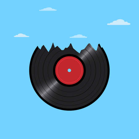 Vinyl disk record in shape mountains with clouds. Creative vector illustration