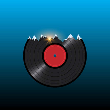 entertainment event: Vinyl disk record in shape snow mountains with sunset. Creative vector illustration