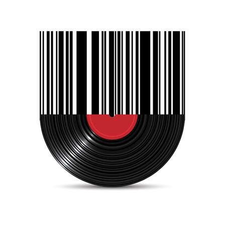Vinyl disk record met barcode. Creatief element voor ontwerp. Realistische vector illustratie