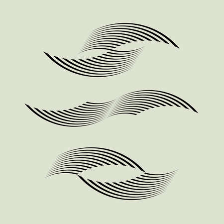 communication: Wavy linear shapes for logo design,web, prints, posters. Set of vector element