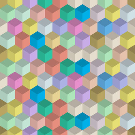 3d retro colors seamless pattern with cubes. Vector background and wallpaper