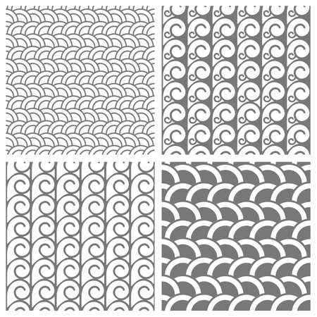 white background: Seamless patterns with stylized waves and swirls. Vector set of black and white backgrounds