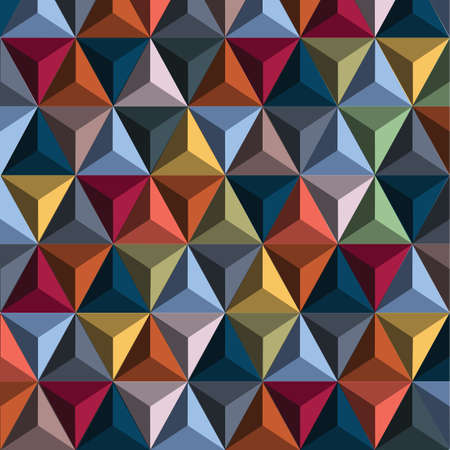 Multi Color 3d background from pyramids. Modern wallpaper. Vector illustration Illustration