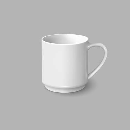 grey: Realistic white coffee mug isolated on grey background. Vector template for Mock Up. Vector illustration. Illustration