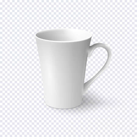 Realistic white coffee cup isolated on transparent background. Vector template for Mock Up. Vector illustration Illustration