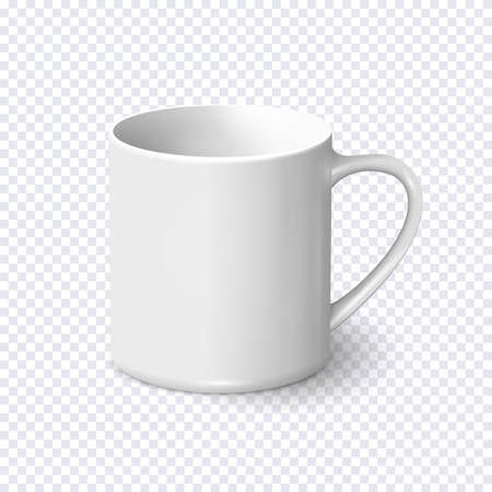 Realistic white coffee mug isolated on transparent background. Vector template for Mock Up. Vector illustration