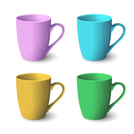 teatime: Set of color realistic coffee cups isolated on white background. Vector template for Mock Up. Vector illustration