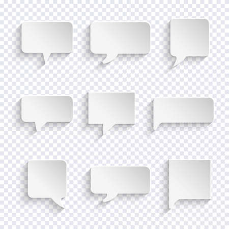 clouds: Vector set of paper white speech bubble icons with shadows. Chat, web icons. Vector illustration Illustration