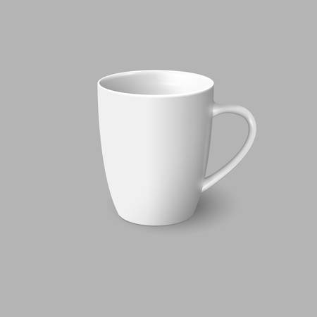 teatime: White coffee cup isolated on grey background. Vector template for Mock Up. Vector illustration Illustration