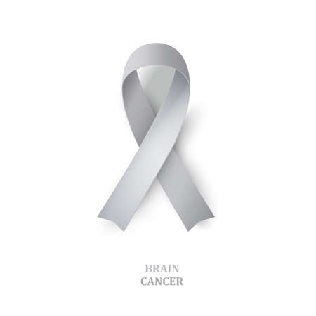 stalking: Grey awareness ribbon as symbol of  brain disorders. Borderline personality disorder, diabetes,  ovarian cancer and disabilities. Vector illustration Illustration