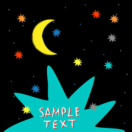 paper texture: Colorful hand drawn cartoon moon and stars. Retro style poster. Vector template for cards,covers, flyers, banners