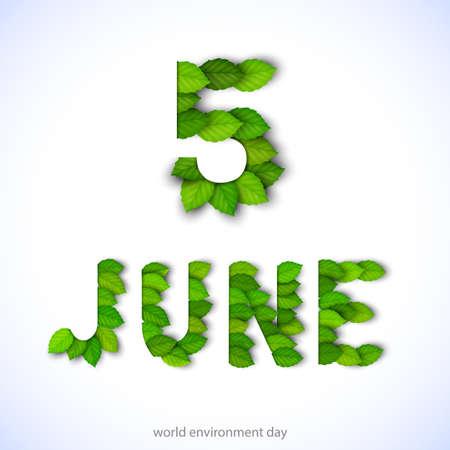 世界环境日的概念与绿色的树叶。环保自然插画。矢量纸裁剪元素。环境模板横幅,海报,卡片