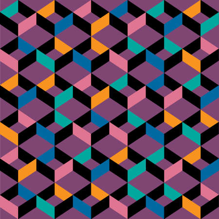 card: Retro colors seamless pattern with cubes. Vector background and wallpaper
