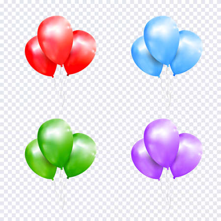 Vector set of sheaf colored balloons on transparent background. Realistic balloons illustration for party, celebration design decoration. Editable elements with gradient mesh Illustration