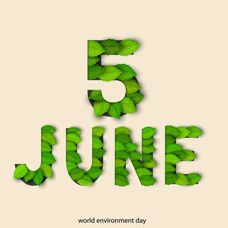 earth day: World Environmental Day concept with green leaves. Eco friendly natural illustration.Vector paper cut out elements. Environmental template for banner, poster, card