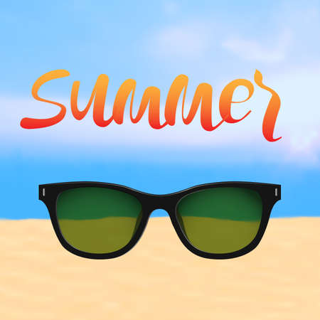eyewear: Summer poster with Lettering and beach with sunglasses. Editable vector template for design card,flyer, banner or poster