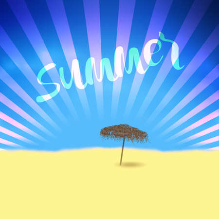 hand: Summer retro poster with Lettering and beach bamboo parasol. Editable vector template for design card,flyer, banner Illustration